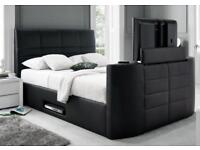 BRAND NEW BLACK DOUBLE LEATHER TV BED
