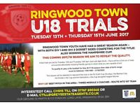 u18 Trials for Ringwood Town FC - 13th & 15th June 2017