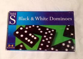 WH SMITH BLACK AND WHITE DOMINOES WITH INSTRUCTIONS ON BOX. COMPLETE AND VGC.