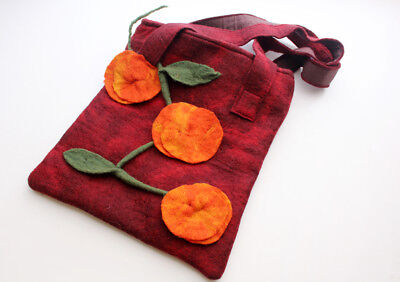 Handmade Beautiful Monk Red Felt Bag Adorned with Orange Flower