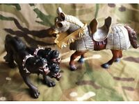 GREAT PAPO SCHLEICH TWO 2 EXOTIC FANTASY KNIGHTS ANIMAL TOY ANIMALS MODELS DEVIL DOG WARRIOR HORSE