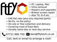 "Mobile computer repair service, £40 flat rate ""no fix - no fee"", Canterbury and East Kent."