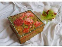 Jewellery wooden box, handmade home decoration, candles GRATIS!