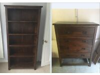 bookcase / bookshelf and chest of drawers for sale and collection