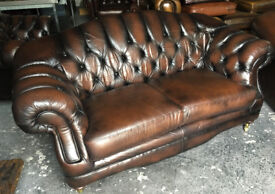 Brown leather 2 seater Chesterfield sofa...Thomas Lloyd