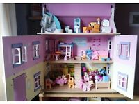 Dolls House complete with Furniture & Dolls - Excellent Condition