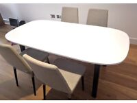 IKEA Dining table OPPEBY & Dining Chairs PREBEN