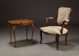 Rococo armchair and side table