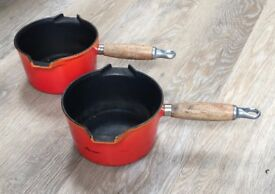 Two Le Creuset Cast Iron Saucepans, 16 cm diameter