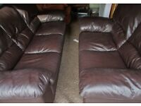 3 seater and 2 seater brown leather sofas very good condition