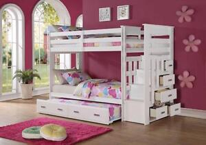 WHITE SOLID WOOD STAIR CASE BUNK BEDS FOR 899$