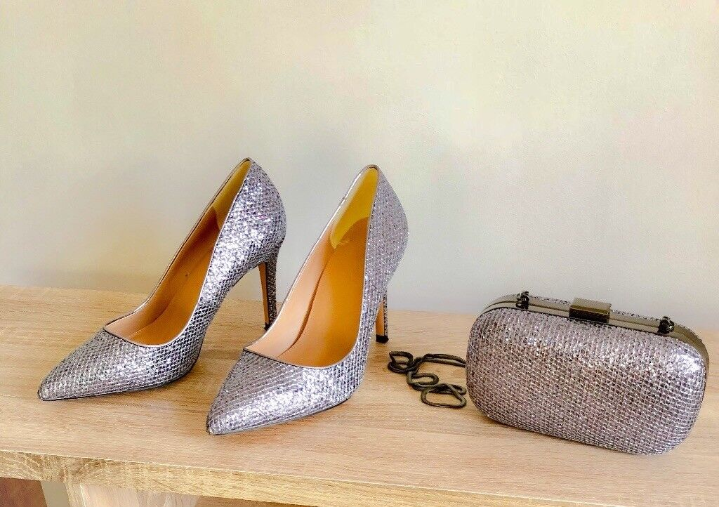Ladies silver grey sparkle shoes size 5 and matching clutch bag