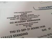 LANY O2 Academia Birmingham tickets x4 (23.09.21)