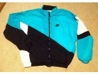 Vintage Nike shell suit jacket, black, white, green, size L. good condition.