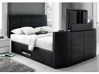 SALE* KINGSIZE TV LEATHER BED FRAME £299 + FREE QUILT* HOLDS UP TO A 40 INCH TV