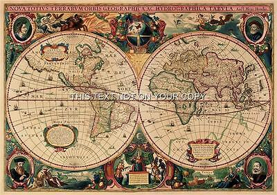 2 Reproduction Maps Hendrik Hondius Old Vintage Colour Antique World Picture NEW