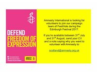 FestiVol Voluntary Opportunities - campaign for Amnesty during the Edinburgh Festival