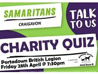 Craigavon Samaritans Charity Pub Quiz on 28.04.17 @ 7.30pm held in Portadown British Legion