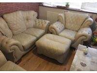 leather sofa, 2 armchairs and stool