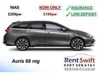 PCO Toyota Auris Estate £199pw incl INSURANCE. Private Hire minicab car rent in London uber rental