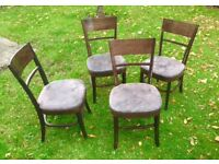 Wood and gray leather 4 dinning chairs