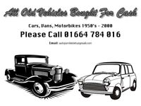 All old vehicles wanted, cars, vans, motorbikes bought for cash