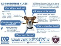 K9 Beginners Dog Training - Starts Friday 12th January 2018 at 7pm