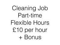 Part Time Self-Employed Cleaning Job, £10p/h + BONUS