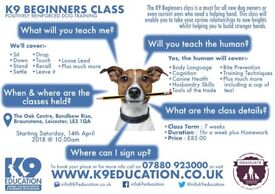 K9 Beginners Class - Starting Saturday, 14th April 18 @ 10am - Book Now!!!
