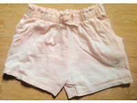 Next New Child Girl's Pink Marl Comfort Fit Shorts.Age 2-3 Years.