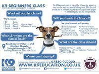 K9 Beginners Dog Training - Starts Thursday 11th January 2018 at 7pm