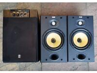 "!!!GREAT CONDITION!! (£150)""B&W DM601 S2 black/Speaker pair+Yamaha YST-SW105 Subwfer 80W""(RRP:£528)"