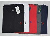 Mens Ralph Lauren Crew Neck T Shirts, Red, Black, Grey, White & Navy, S, M, L, XL. FREE P&P!