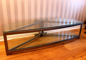 GLASS AND METAL LARGE SCREEN TELEVISION TV STAND
