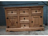 New Solid Wood Corona Maxican Pine SIDEBOARD Chest 5 DRAWERS 2 DOORS SOLID WOOD (Was £375)