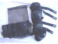 1 pr each Youth's black Apollo knee, elbow & wrist protectors in black mesh drawstring bag. £3 ovno