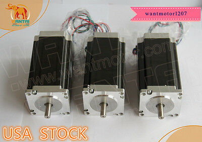 Ship From Us Wantai 3pcs Nema23 Stepper Motor Dual Shaft 425oz 3a 115mm 1.8
