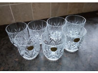 Set of 7 lead crystal whisky glasses