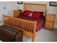 Solid Maple Kingsize Bishop's Bed by Zocalo with 2 Free bedside cabinets and mattress!