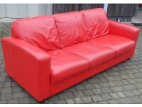 Large red leather 3 seater sofa settee