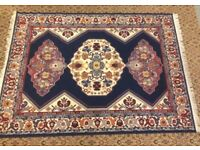 Persian Style Eastern Navy Blue Red Cream Rectangular Fringed Rug (170 x 130cm)