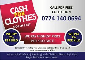 Cash 4 Clothes. BEST PRICE.FACT. Upto £2 PER Kg to £1 PER Kg .FREE COLLECTION.
