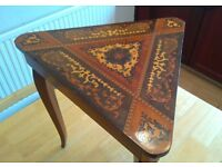 Triangular Inlaid Marquetry Music Box Table (sewing/jewelry)