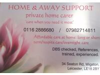 Home and Away Support Services. High quality, affordable Private Home Care in South Leicester area