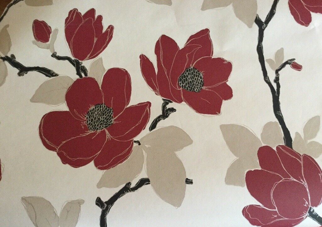 New Unopened Marks & Spencer Wallpaper Metallic Bloom 3 rolls - Red Mix 10.05m x 0.52m approx5.2sq m