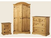 CORONA MEXICAN PINE BEDROOM SET 2 WARDROBES 2 BEDSIDE TABLES CHEST OF DRAWERS