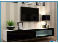 NEW IN BOX VIGO WALL MOUNTED TV UNIT [WHITE/BLACK GLOSS]