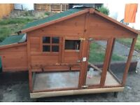 Large double rabbit hutch and run