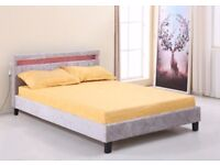 SILVER VELVET LED COLOUR CHANGING BED - Double - optional memory foam mattress