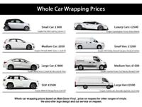 Full or partial car wrapping, chose between or vinyl, we offer over 100 colors and texture variants